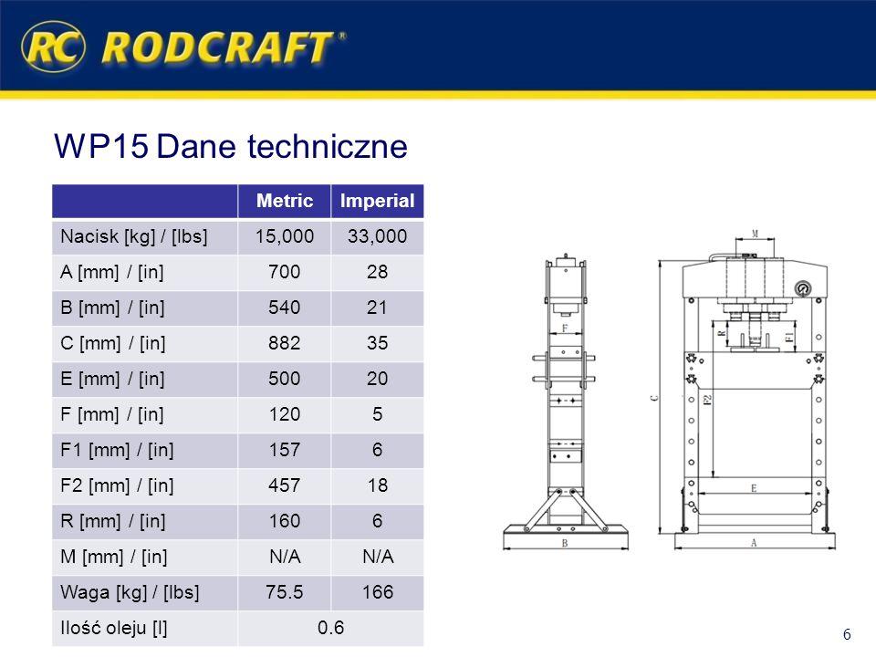 WP15 Dane techniczne Metric Imperial Nacisk [kg] / [lbs] 15,000 33,000